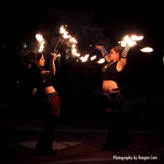 Xtina and Nicole Bellydance with fire fingers